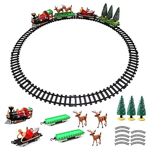 FXQIN Tren electrico Retro con Locomotora de Vapor, 3 vagones y 9...