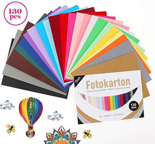 Adorfine Tonkarton A6 Bunt,130 Blatt Buntpapier 250g/m², 22 Farben Fotokarton Bunt DIY Tonpapier zum Basteln und Gestalten