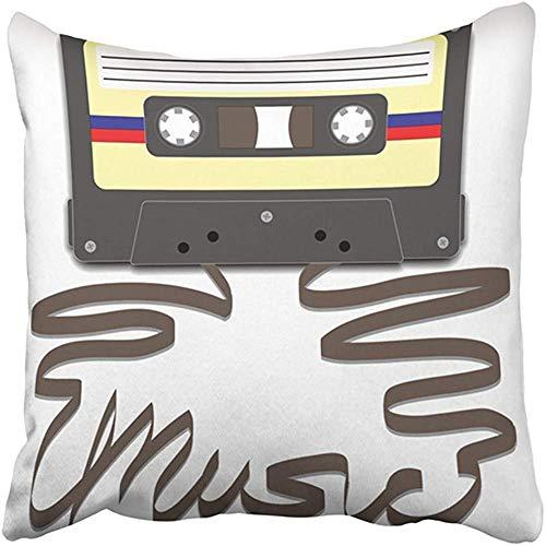 Funda de Almohada Decorativa en Pulgadas Cinta de Casete Mixtape de poliéster extraída para deletrear música Cassette Funk Player Radio Clipart Cojín Funda de Almohada de Dos Lados Impresión Cuadrada