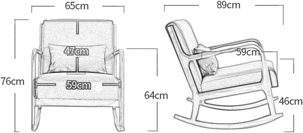 Chaise berçante avec Coussin de Taille en Bois de Caoutchouc Chaise inclinable relaxante pour Salon Yellow