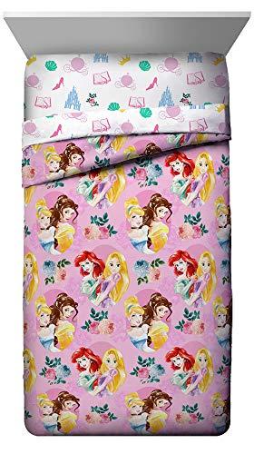 Jay Franco Disney Princess Sassy Twin Comforter - Super Soft Kids Bedding Features Ariel, Belle, Cinderella, Rapunzel - Fade Resistant Polyester Microfiber Fill (Official Disney Product)