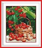 Kits de punto de cruz contados -Cerezas frescas 30x40cm- Kit de bordado a mano con patrón de punto de cruz Diy Kit de bordado impreso Set decoración del hogar