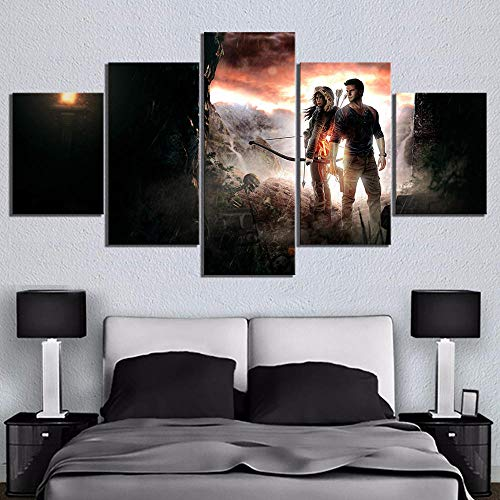 wjdymx Decoración De Pared Arte De La Lona De 5 Piezas Uncharted The Lost Legacy Juego Poster Pinturas Fantasy Art HD Imagen De La Pared para La Decoración De La Sala De Estar