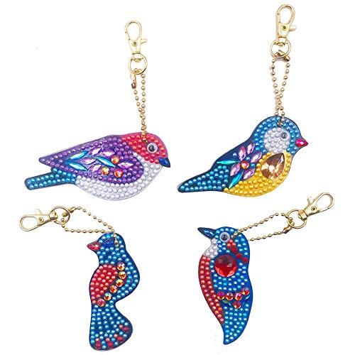 Ahomi 4 stuks DIY vogels volledige boormachine speciaal gevormde diamant schilderij sleutelhanger geschenken