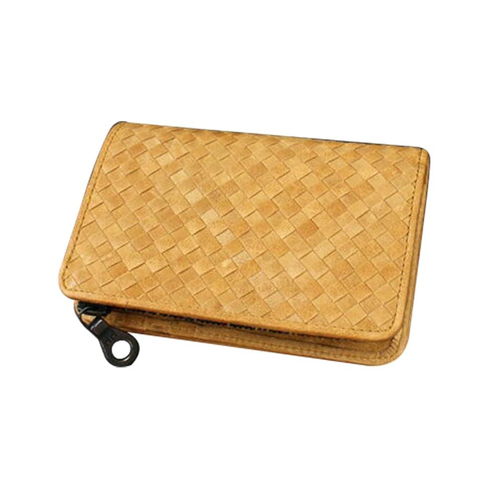 柔らかさケイ素関係[ソラチナ] #SW-36092 本馬革 (riri社製ジッパー) ホース メッシュ折財布 メンズ