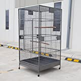 Huge Size H80 x W35.5 x D35.5 inches; plenty room for birds to fly Large front door for easy access W17 x H37 inches Removable bottom grate and tray for easy clenaing 4 feeder cups with swing out doors Bar space: 1 inch
