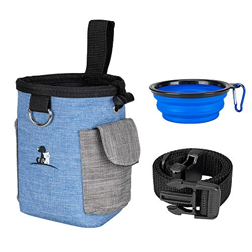 EXCELLENT ELITE SPANKER Dog Treat Pouch Dog Treat Bag with Dog Bowl for Training Small to Large Dogs Animal Walking Snack Container Easily Carries Pet Toys & Kibble (Blue)