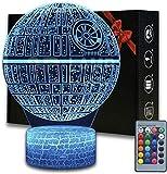 Lámpara Colorida 3D Led White Crack Base Touch Lámpara De Ilusión Control Remoto Lámpara De Escritorio Con Cambio De 16 Colores Atmósfera Pequeña Luz Nocturna-Estrella De La Muerte