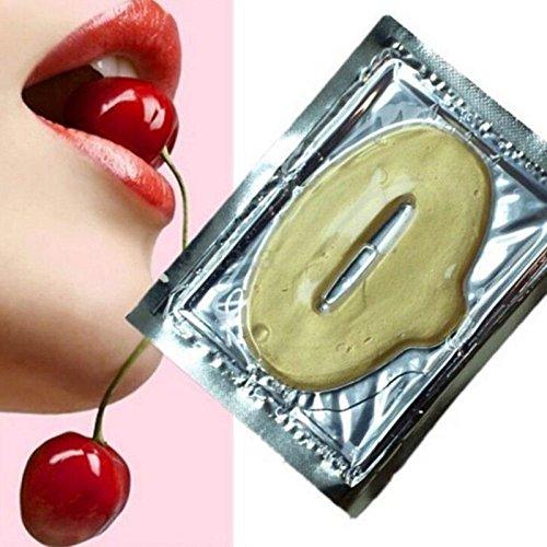 VWH - Lote de 10 máscaras de labios con cristales dorados y colágeno y pompa para labios redondos, potentes y hidratantes