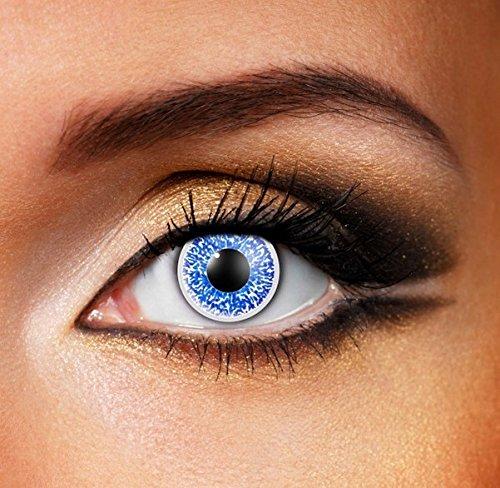 Funky Vision Kontaktlinsen Glimmer - 12 Monatslinsen, Blue, Ohne Sehstärke, 1 Stück
