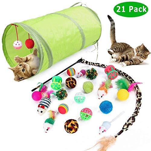 MISHAER 21 Juguetes interactivos para Gatos, Juguetes para Gatos con Plumas de túnel, Juguetes de béisbol para Gatos, Ratones y Varias Bolas con Campanas (Juguete Gato)