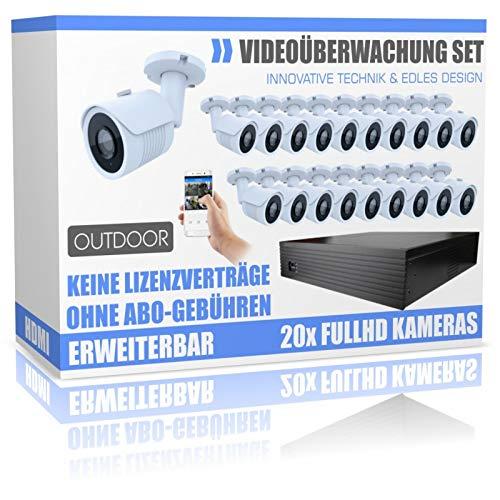 Professionelle Videoüberwachung Set mit 20 Stück HD Dome Nachtsicht- Kameras - 4000GB Festplatte