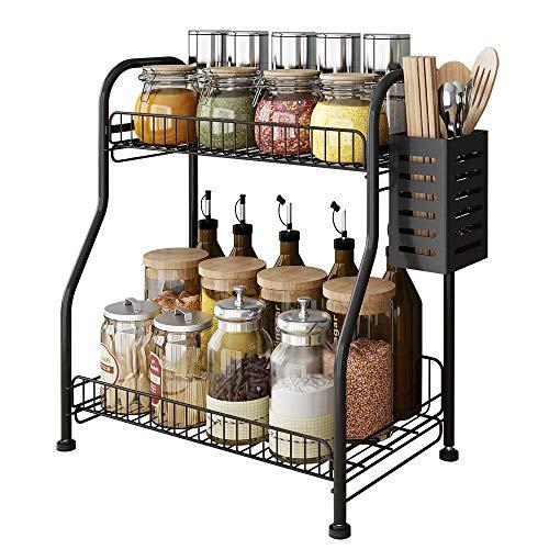 Spice Rack Countertop Organizer with Cutlery Storage Container, 2-Tier Bathroom Shelf Organizer Countertop, Kitchen Rack Organizer for Spice Can Sauce Jars Bottle With 3 Hooks