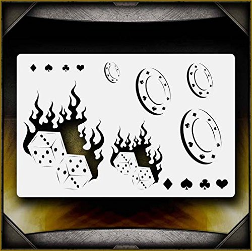 Flaming Dice AirSick Airbrush Stencil Template