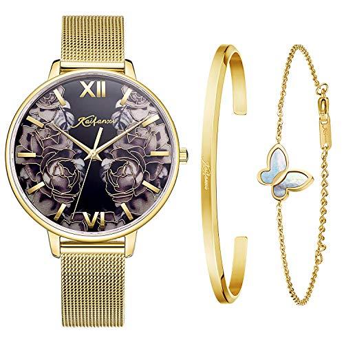 Kaifanxi orologio da polso al quarzo da donna delicato design quadrante di fiori con bracciale regalo per signore vetro zaffiro e cinturino in maglia classica (Oro1)