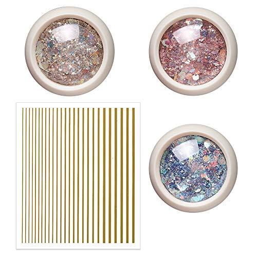Glitter Pots, Nail Glitter Powder Dust for Gel Polish Iridescent Flakes Art...