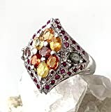 Sz 8.5, Natural Vibrant Orange SAPPHIRE and PADPARADSCHA SAPPHIRE and RUBY Gemstones, 14k White GOLD and 925 Sterling Silver, Artistically Handmade (2.2x1.9cm) Ring Fine Jewelry Gift.