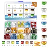 Vrupin 140Pcs -Car Fuses Assortment Kit,Car Fuse Kit, Blade-Type Automotive Fuses -Standard and Mini(5A/7.5A/10A/15A/20A/25A/30A),Replacement Fuses for Car/SUV/RV/Truck/Boat