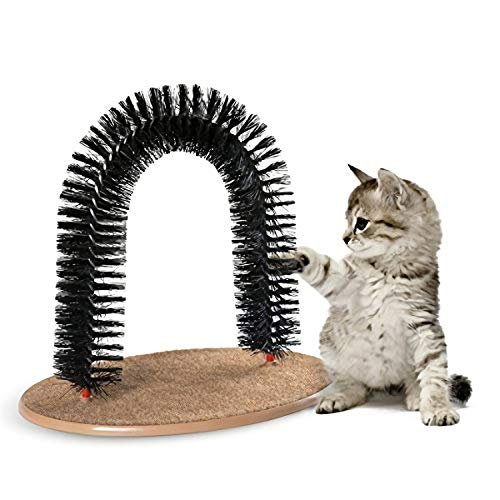 Ulalaza Cat Grooming Scratcher Brush Toy Kitties Rubbing Arch Self Massage Brush Pet Toys