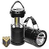 ULG 2 Pack COB LED Lanterne de Camping Lampe de Poche avec 6 Piles AA-Kit de Survie léger et Compact pour l'ouragan, Urgence, Panne de Courant, réparation
