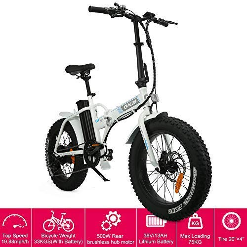 20' New Fat Tire Folding Electric Mountain Bike 500W Beach Snow Bicycle Ebike with Removable 36V 13...