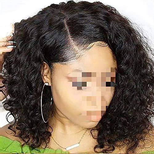 Femmes Court Lace Front Wigs Cheveux naturels Péruvien Vague Remy cheveux Bob perruque avec pré plumé Hairline dentelle perruque pour les femmes Cosplay Party (Size : 12inches)