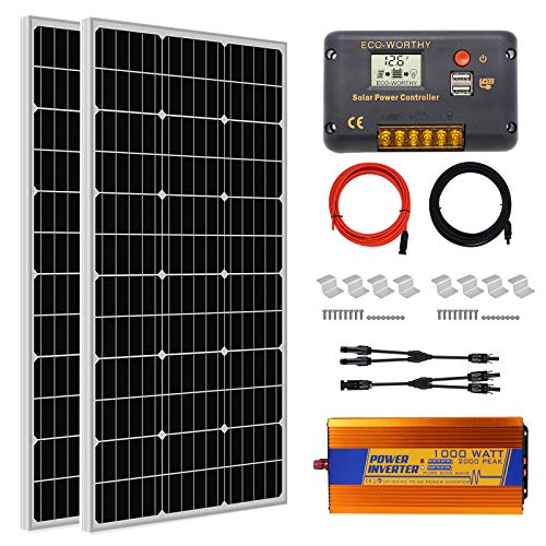 ECO-WORTHY 200 Watt (2pcs 100W) Complete Solar Panel Kit with 1000W Off Grid Power Inverter for Home, RV, Camper,Boat
