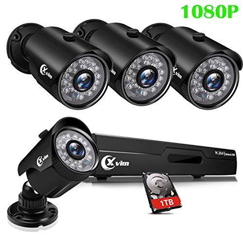 XVIM 8CH 1080P Security Camera System Home Outdoor 1TB Hard Drive Pre-Install CCTV Recorder 4pcs HD...