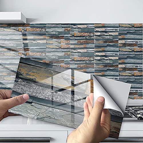 24 Piezas Pegatinas de Azulejos Autoadhesivos, Etiqueta de La Pared 3D, Pegatinas de Azulejos de Mosaico a Prueba de Agua para Cocina y Baño Decoración, 10X20cm (Set D)