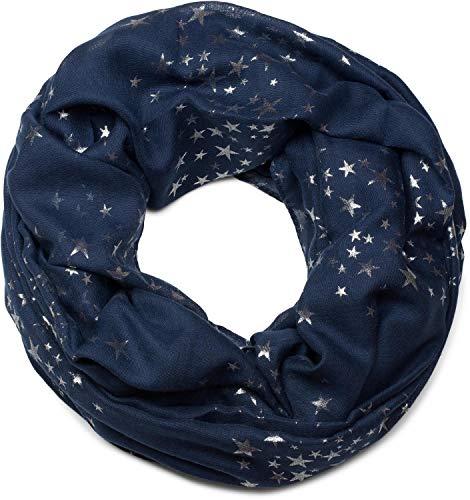styleBREAKER Loop Schal mit glitzerndem Metallic Sterne All Over Print Muster, Schlauchschal, Tuch, Damen 01016118, Farbe:Dunkelblau