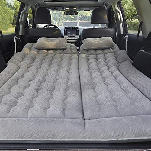Dioche Cama hinchable para coche, asiento trasero, colchón para coche hinchable con bomba, multifunción, plegable, para descansar, dormir, viajes de camping (gris)