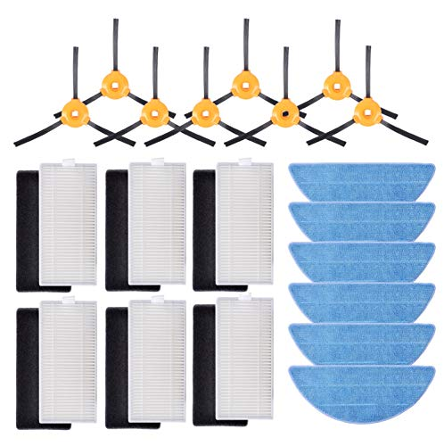 KEEPOW Kit Accesorios de Recambio para Cecotec Conga Excellence 990 Robot Aspiradora, Material Premium, Pack Familiar de 6 Filtros Hepa + 6 Espumas + 8 Cepillos Laterales, 6 Mopas Set de 26 pcs