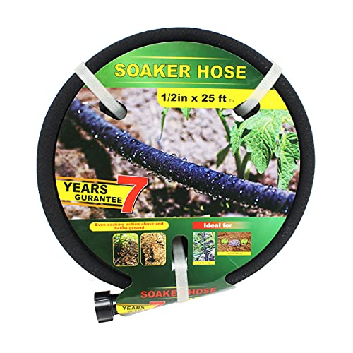 Soaker Hose -Garden Hose 25 FT/50FT/75FT with 1/2'' Diameter Interface- Saves 70% water Great for gardens/flower beds/Seedling (B-1-2-25FT-X)
