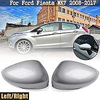WASHZD 1ペア左/右シルバーバックミラー交換用カバーキャップケースシェル、フォード用フィエスタMk7 2008 2009 20102011-シルバー