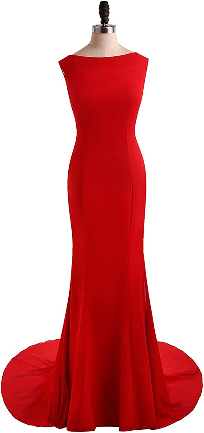 HONGFUYU Red Formal Evening Dresses 2017 Open Back Mermaid Long Prom Party Gowns