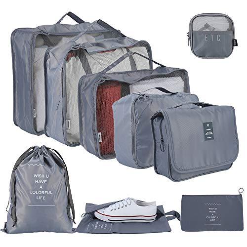Evance 9 Pezzi Sistema di Cubo di Viaggio, Organizzatori di Viaggio, Organizer Valigie Set per Viaggio Bagagli, Abbigliamento Intimo Scarpe Cosmetici Organizzatori Sacchi di Stoccaggio Set (Grigio)