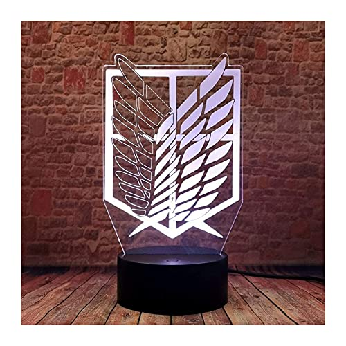Luz de noche universal interior Ataque de ilusión 3D en la luz de la noche de Titan Merch DIRIGIÓ Lámpara de escritorio de anime 16 colores Cambiar control remoto AOT Inicio Iluminación para niños