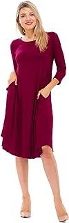 NANAVA Women's Viscose 3/4 Sleeve Pocket Crew Neck Knee Length Dress