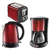 Exklusive Farbgebung in Schwarz und Metallic - Rot. 3 Geräte=1Preis Im Set mit Kaffeemaschine und Wasserkocher. Red Ruby Collection