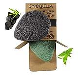 DESMAQUILLANTE • 2 esponjas Konjac para cara y cuerpo con carbón activo de bambú y té verde, ecológico, 100 % natural, para adultos, niños y bebés, gran tamaño,