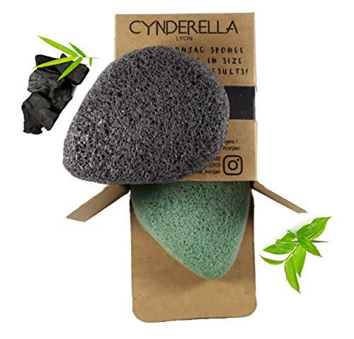 DESMAQUILLANTE • 2 esponjas Konjac para cara y cuerpo con carbon activo de bambu y te verde, ecologico, 100 % natural, para adultos, ninos y bebes, gran tamano,