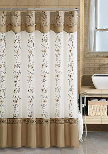 GoodGram VCNY Luxurious Daphne Embroidered Sheer & Taffeta Fabric Shower Curtains Assorted Colors (Beige/Gold)