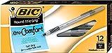 BIC Round Stic Grip Xtra Comfort Ballpoint Pen, Medium Point (1.2mm), Black, 12-Count
