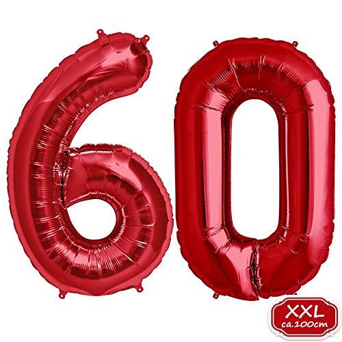 FUNXGO Folienballon Zahl in Rot- XXL / ca.100cm Riesenzahl Ballons - Folienballons für Luft oder Helium als Geburtstag, Hochzeit , Jubiläum oder Abschluss Geschenk, Party Dekoration (Rot [ 60 ])