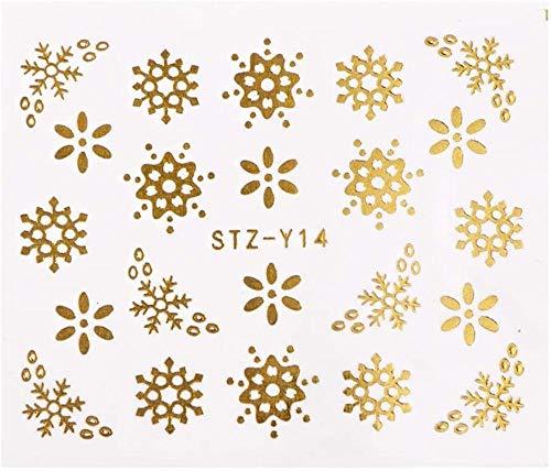 SRTYH Autocollant d'ongle 2 Pcs Or Argent Conception Nail Art Autocollants Hiver Fleur Curseurs Eau Stickers pour Ongles Manucure Outil-A