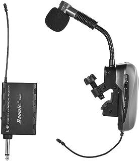 ammoon Sistema de Micrófono Baomic BM-12 / V2 UHF Profesional Instrumento Inalámbrico Receptor y Transmisor 630-690MHz 16 Canales para Sax Saxophone Cuerno Francés Trompeta Trumbone