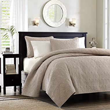 Madison Park Quebec Dusty Pale Khaki 3-Piece Quilted King Coverlet Set—For King or Cal King Bed –Ideal For Warm Climate Room Décor or Add-on For Extra Warmth