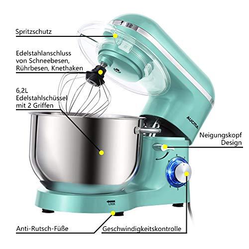 Aucma Küchenmaschine 1400W mit 6,2L Edelstahl-Rühlschüssel, Rührbesen, Knethaken, Schlagbesen und Spritzschutz, 6 Geschwindigkeit Geräuschlos Teigmaschine, Blau - 2