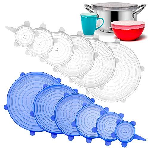 Dehnbare Silikondeckel | 12 Stück | Die Alternative zu Alufolie und Frischhaltefolie | Wiederverwendbare Universal Deckel für Lebensmittel und Behälter | BPA freies Silikon (Weiss Blau)