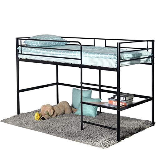 Aingoo Lit Mezzanine en métal Loft Lit superposé avec Échelle pour Enfants, Noir